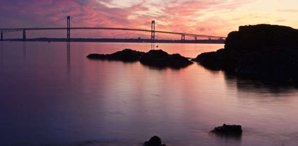 The Newport Bridge At Twilight
